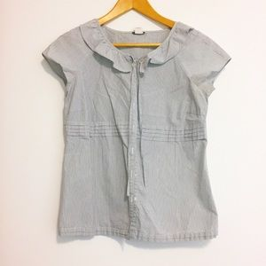 Jcrew grey striped shirt women